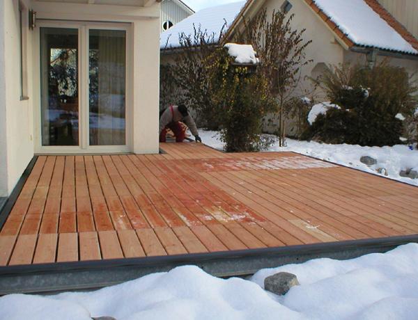 Terrassen Deck Mit Douglasie Rollrost Belag Terrassendeck Krauss